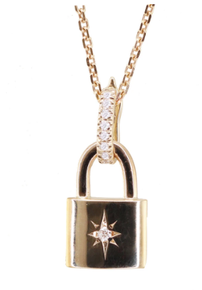 LUNA SKYE Diamond Starburst Lock Necklace