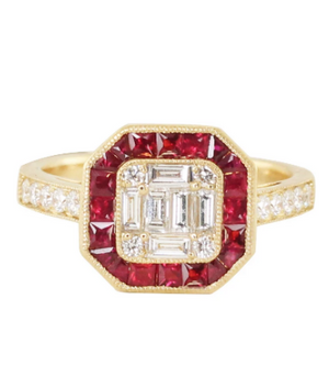 LUNA SKYE Ruby Vintage Deco Ring