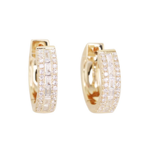 LUNA SKYE Channel Baguette Diamond Hoops