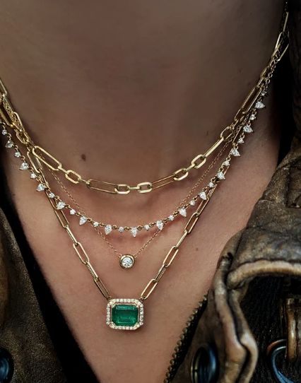 LUNA SKYE Emerald Cut Emerald Necklace
