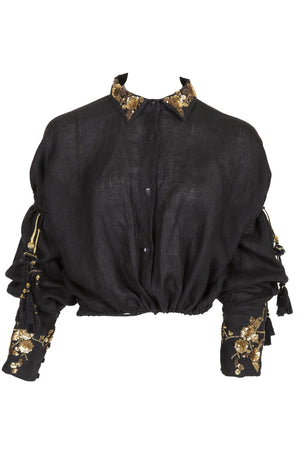 CHRISTIAN PELLIZZARI Embroidered Blouse Black
