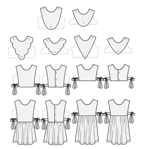 Duchess and Hare vintage plastrons for dress patterns