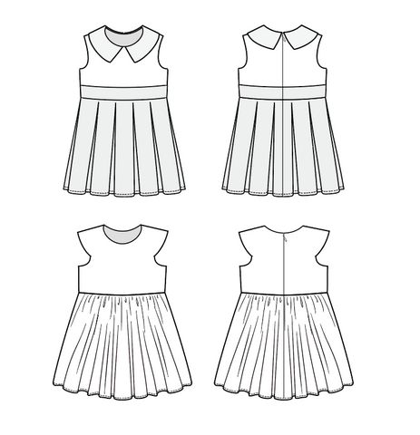 Duchess and Hare Honeybunch vintage pleated pdf dress pattern