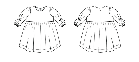 Sugar Pie by Duchess and Hare pdf patterns.  Balloon sleeve dress with shirt hem and vintage length.