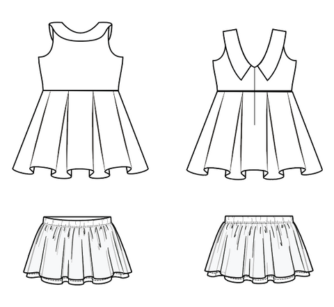 Sugar and Spice vintage v back pleated circle skirt pdf pattern for girls by duchess and hare