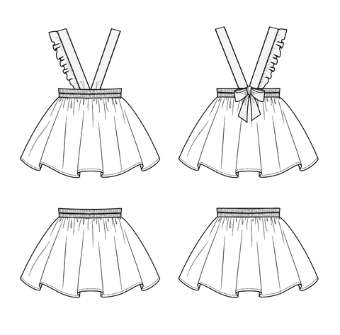 Duchess and Hare Round Robin Suspender Skirt flat drawings