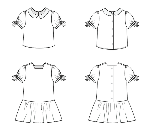 Every Which Way Blouse pdf pattern line drawings