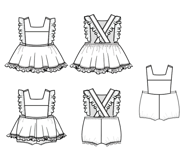 Baby Mini Pinny, romper and mini pinafore pdf sewing pattern