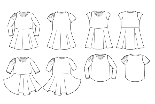 As You Pleats pdf sewing pattern knit dress and top with ruched sleeves and pleated skirt