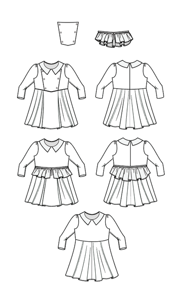 Nutcracker girls dress sewing pattern with full circle skir,  peplum and plastron