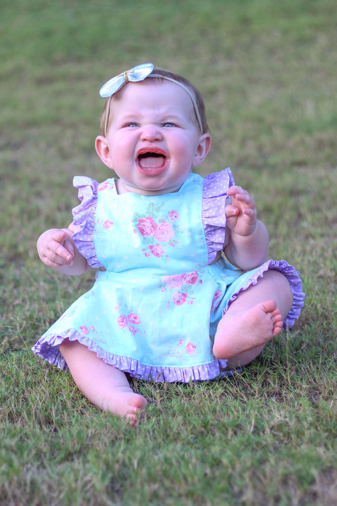 8 sizes: Baby Mini Pinny Romper and Skirted Romper