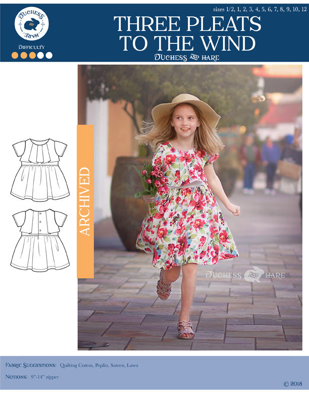 12 sizes: Three Pleats to the Wind Dress