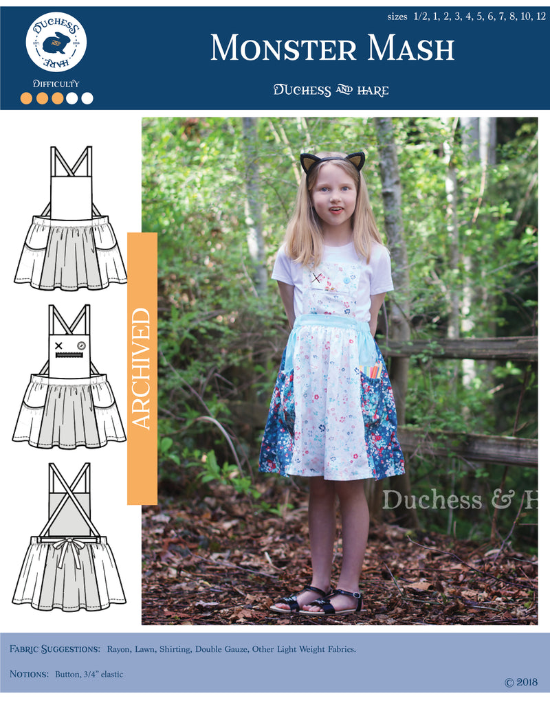 12 sizes: Monster Mash Pinafore