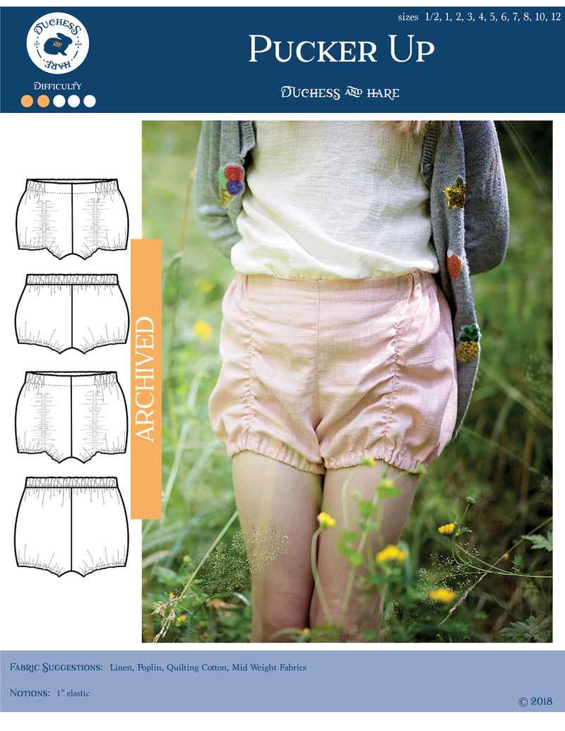 12 sizes: Pucker Up Bloomers and Shorts