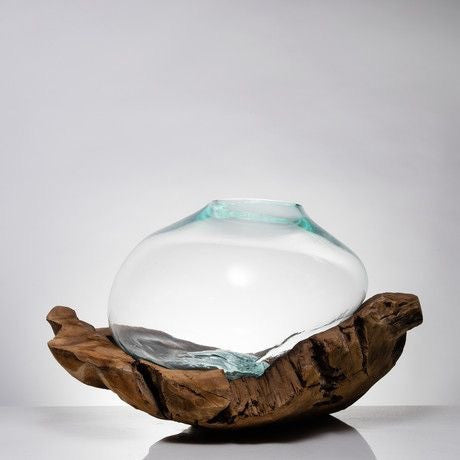 FA10 Teak Wood Bowl with Molten Glass