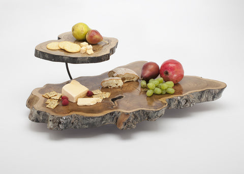 Double Tier Teak Wood Cheese Platter