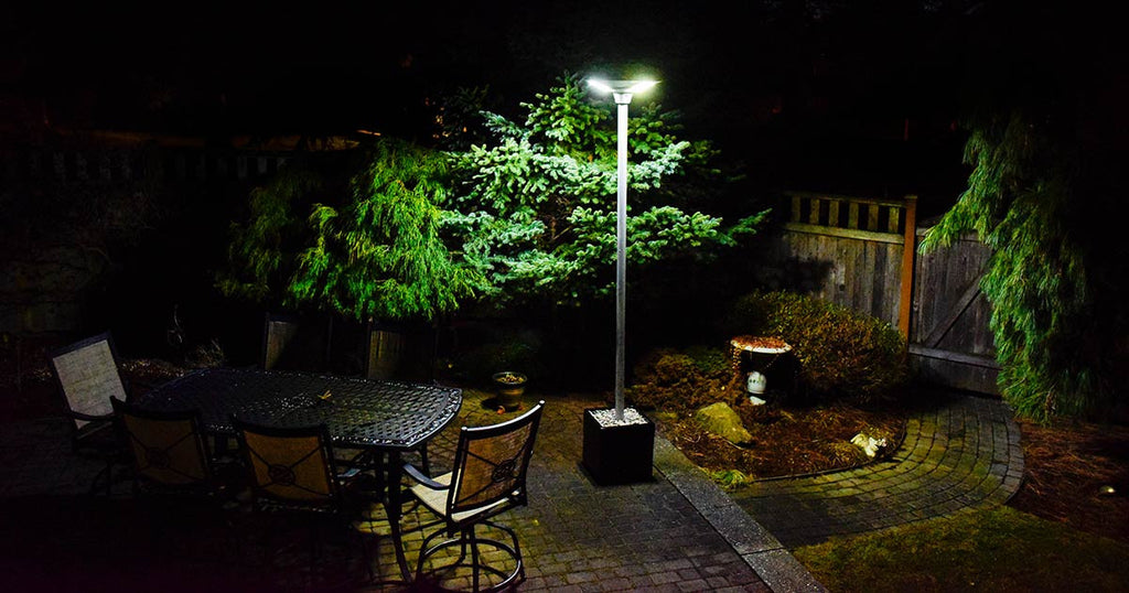Our Solar light at night in use at a patio