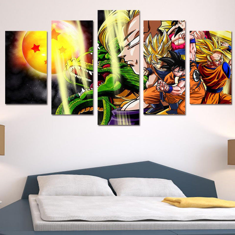 Goku Evolution   - Five Piece Set - CanvasDec - Canvas Wall Art | Canvas Prints | Ready To Hang