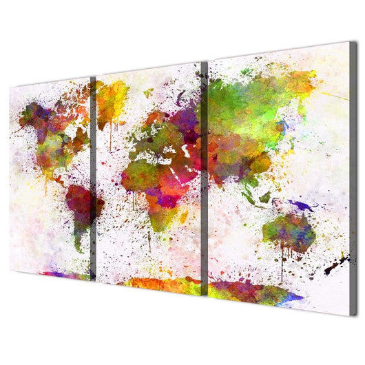 Colorful World Map Art.Canvasdec Colorful World Map Three Piece Set Gallery Wrapped