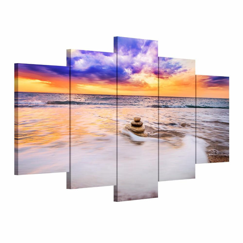 Zen Stone Beach - Five Piece Set - CanvasDec - Canvas Wall Art | Canvas Prints | Ready To Hang