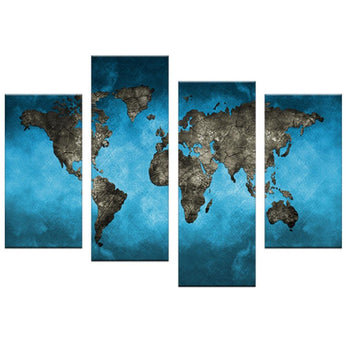 CanvasDec Four Piece Sets Wall Art Canvas Prints Ready To Hang - 4 piece world map