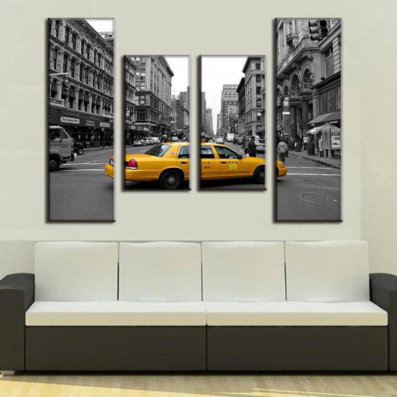 New York Cabbie - Four Piece Set - CanvasDec - Canvas Wall Art | Canvas Prints | Ready To Hang