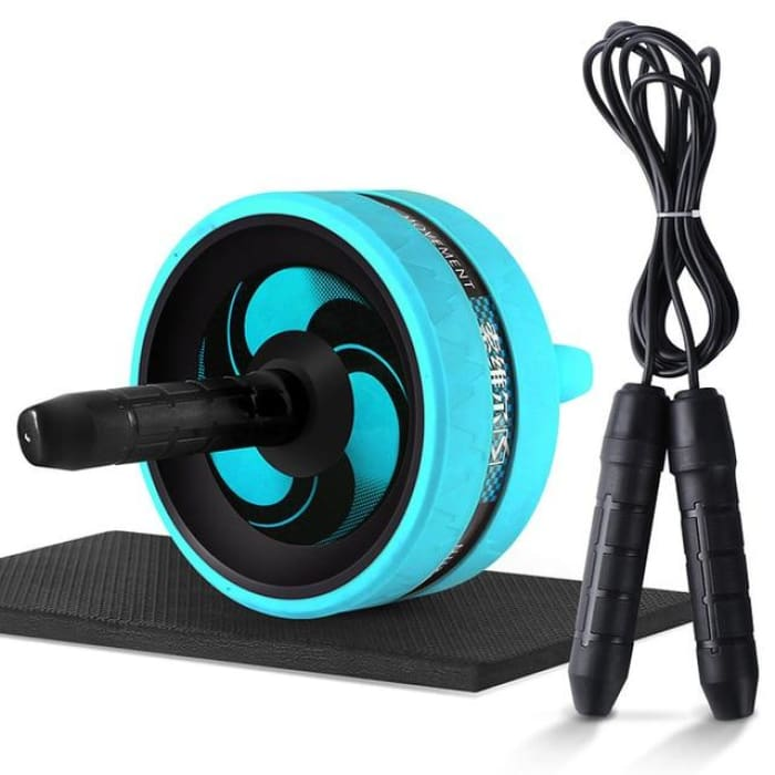 Ab Roller With Jump Rope - Silver - Fitness Gym