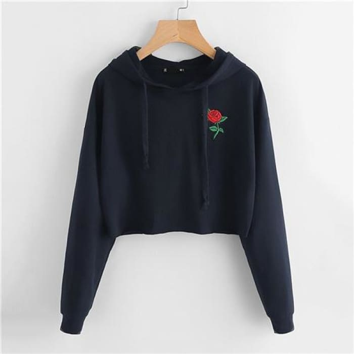 Embroidered Rose Patch - Navy Blue / Xs - Hoodies&sweatshirt