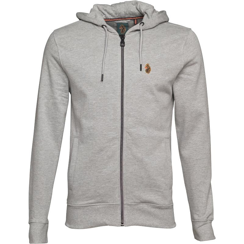 LUKE 1977 Mens Kevlarge Zip Hoody Medium Marle Grey