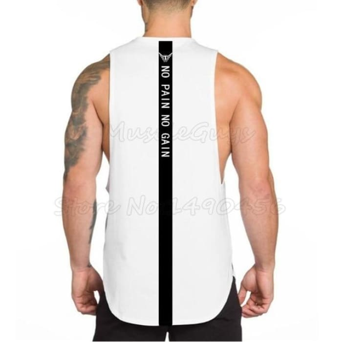 No Pain No Gain Tank Top - White / L - Tank Tops