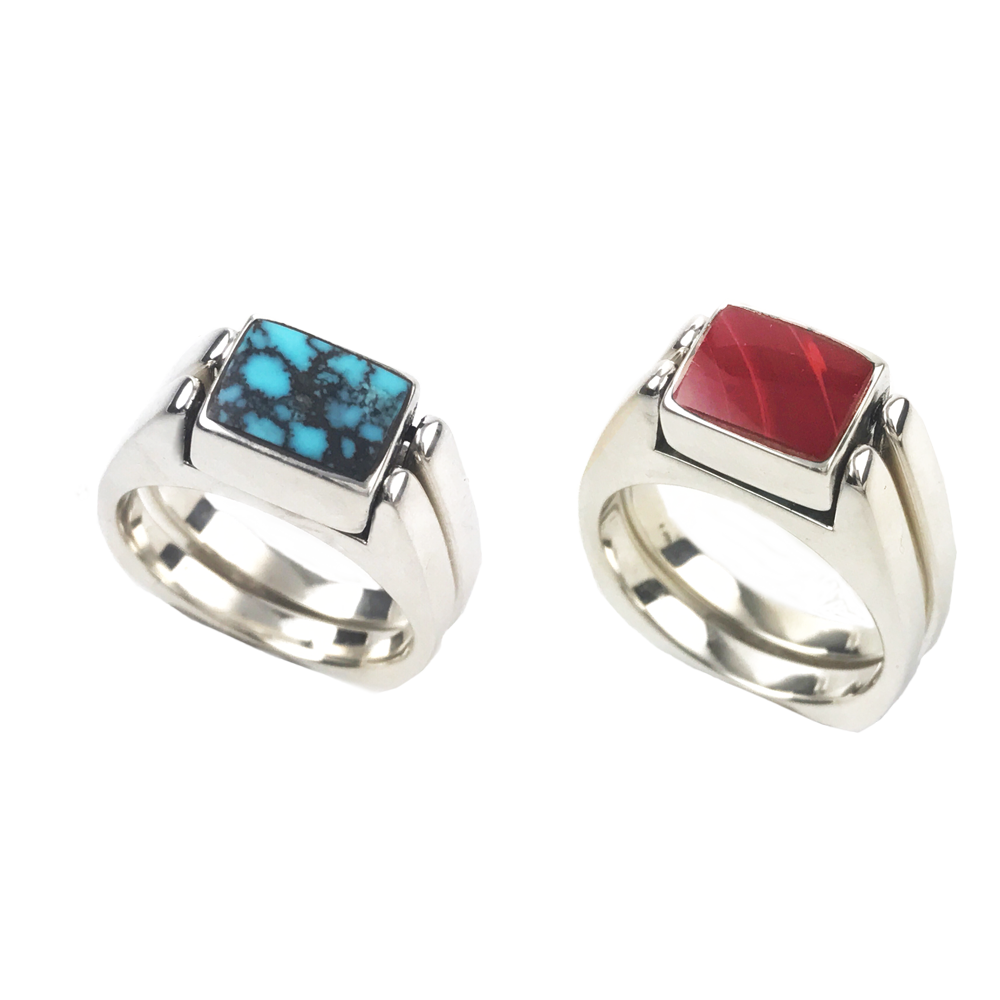 Reversible Ring Sterling Matrix Blue Turquoise/Roserita.  Two Rings in One.