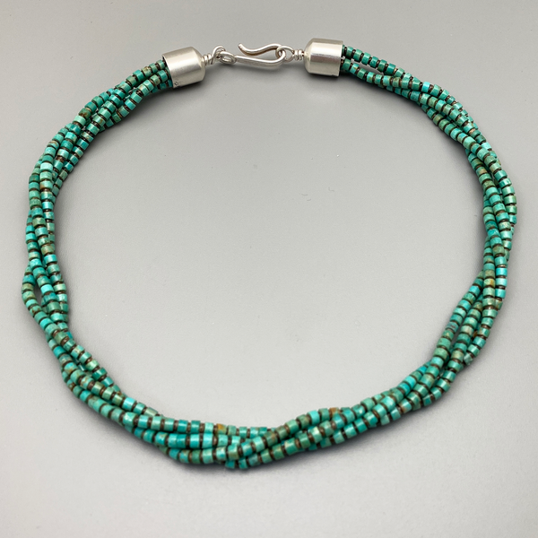 Beads, 4mm Kingman Turquoise Heishi with Clam Shell 4 strands 18