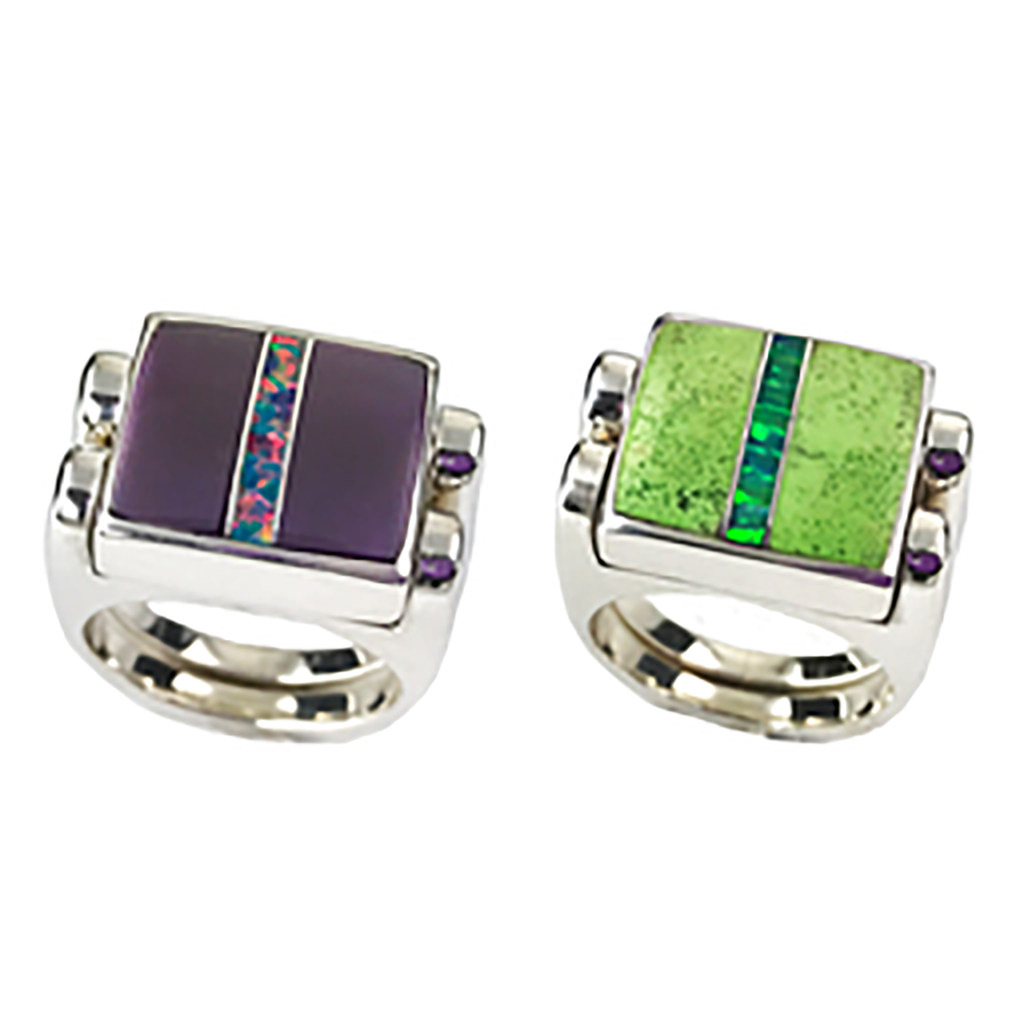 Double Delight, 3pc Inlay with Opal Center & Sterling Silver Shanks, Sugilite with Gaspeite