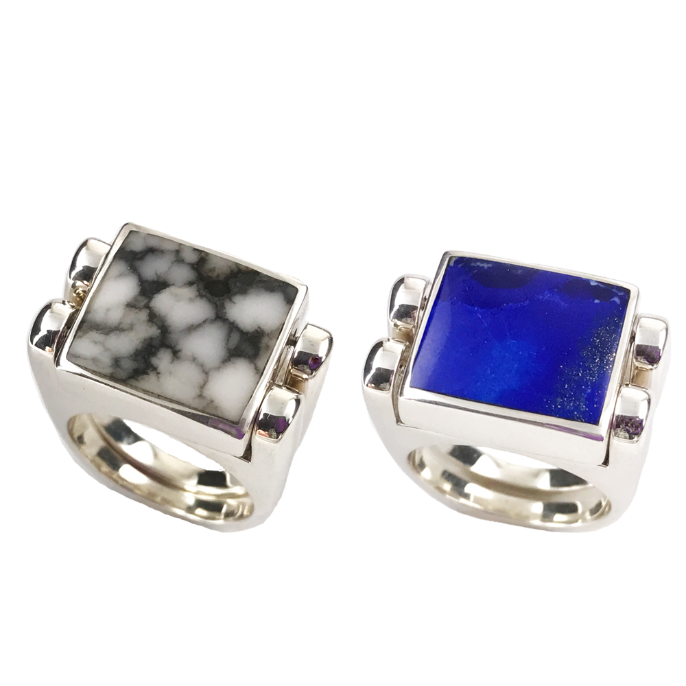 Double Delight | Solid Stone Inlay & Sterling Silver Shanks | Lapis with White Buffalo - Gloria Sawin Fine Jewelry