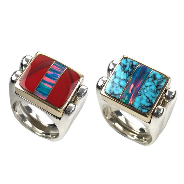 Double Delight, 3pc Inlay Opal & Sterling Silver, 14k box, Roserita and Matrix Turquoise
