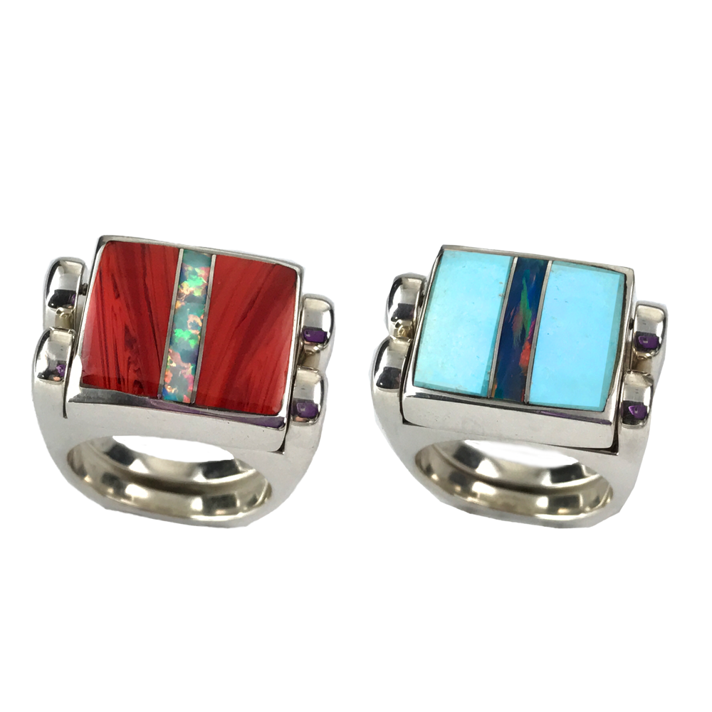 Reversible Ring, Large, Rosarita-Opal/Turquoise-Opal in Sterling