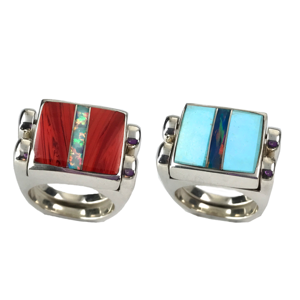 Double Delight, 3pc Inlay Opal & Sterling Silver, Roserita and Turquoise