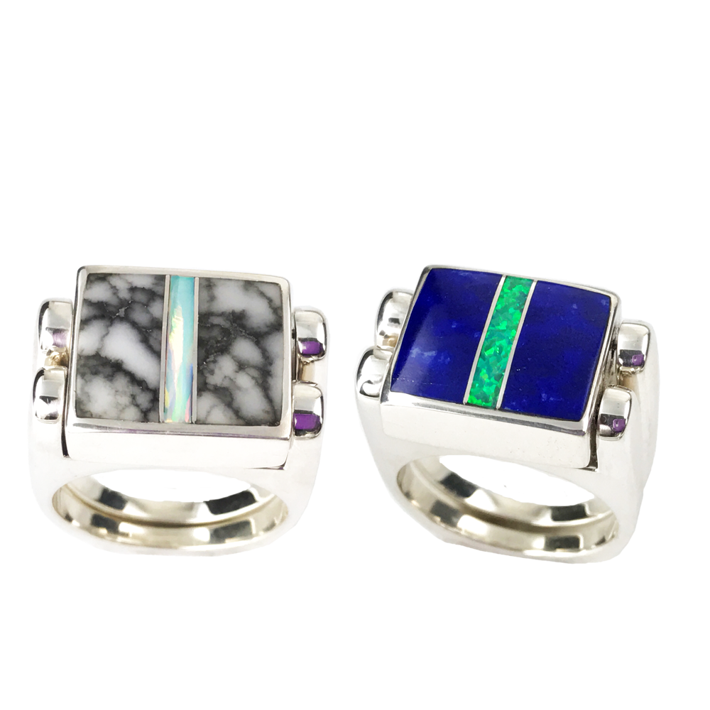 Double Delight | 3pc Inlay with Opal Center & Sterling Silver Shanks | Lapis with White Buffalo - Gloria Sawin Fine Jewelry
