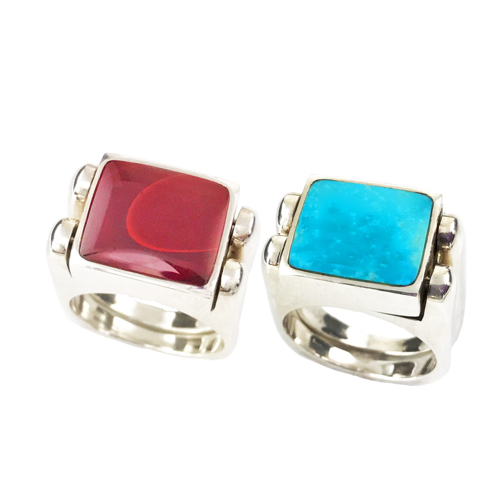 Double Delight | Solid Stone Inlay & Sterling Silver  | Clear Turquoise with Roserita