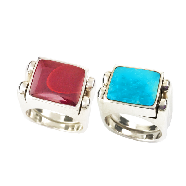 Double Delight, Solid Stone Inlay, in Sterling, Clear Turquoise with Roserita