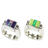 Dynamic Duo | 3pc Inlay with Opal Center & Sterling Silver Shanks | Sugilite with Green Turquoise - Gloria Sawin Fine Jewelry