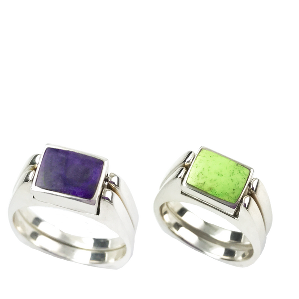 Dynamic Duo | Solid Stone Inlay & Sterling Silver Shanks | Sugilite with Gaspeite - Gloria Sawin Fine Jewelry
