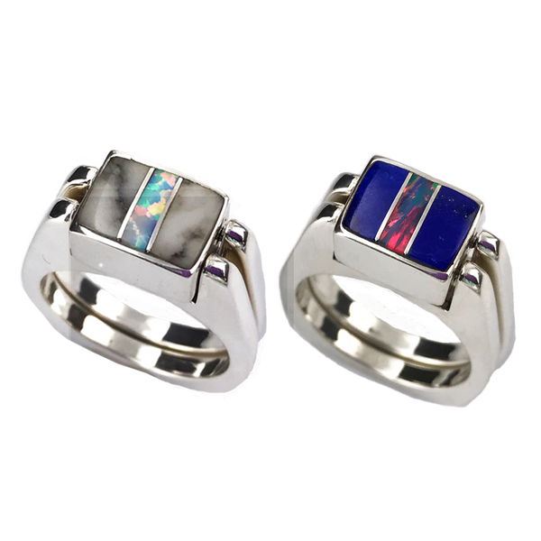 Dynamic Duo | 3pc Inlay with Opal Center & Sterling Silver Shanks | Lapis with White Buffalo - Gloria Sawin Fine Jewelry
