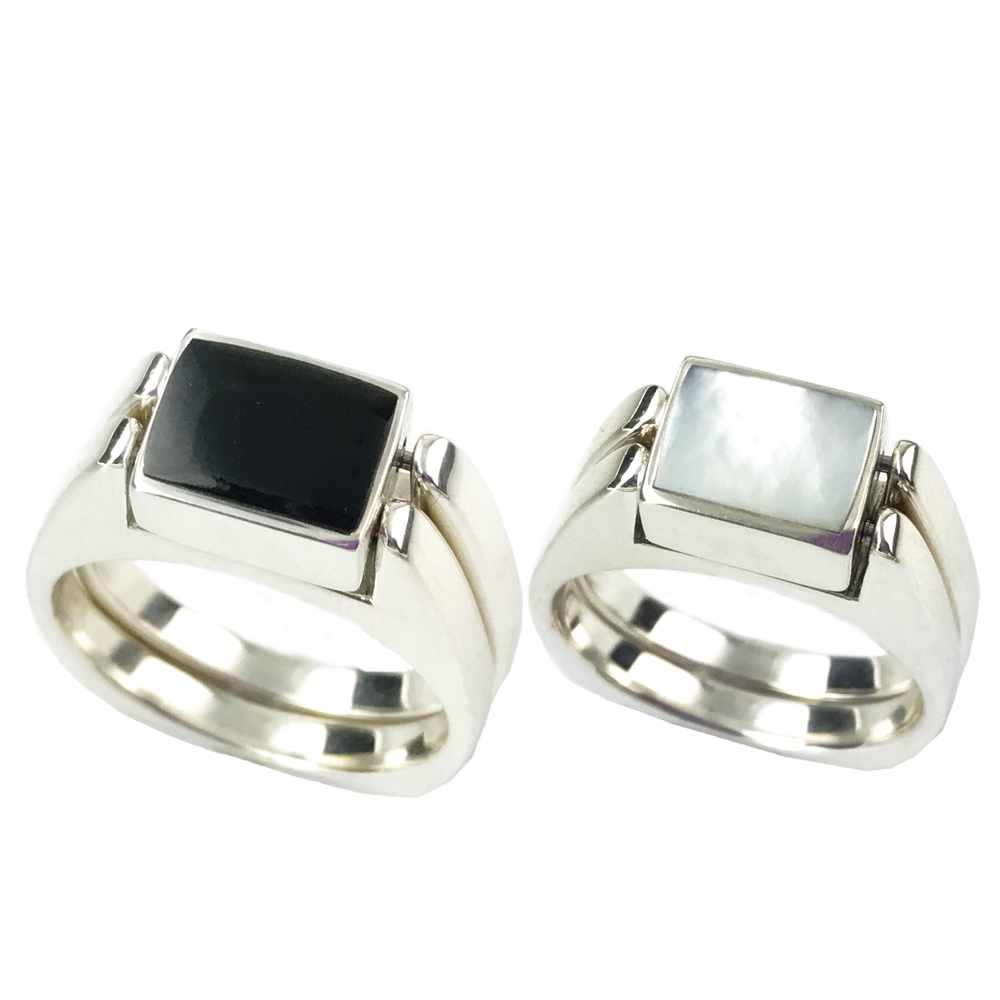 Dynamic Duo | Solid Stone Inlay & Sterling Silver Shanks | Black Jade with Mother of Pearl - Gloria Sawin Fine Jewelry