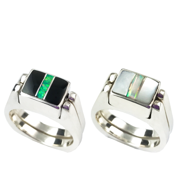 Dynamic Duo | 3pc Inlay with Opal Center & Sterling Silver Shanks | Black Jade with Mother of Pearl - Gloria Sawin Fine Jewelry