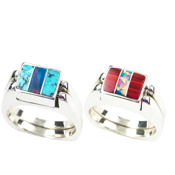 Dynamic Duo | 3pc Inlay with Opal Center & Sterling Silver Shanks | Matrix Turquoise with Roserita - Gloria Sawin Fine Jewelry