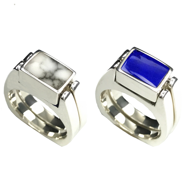 Dynamic Duo | Solid Stone Inlay & Sterling Silver Shanks | Lapis with White Buffalo - Gloria Sawin Fine Jewelry