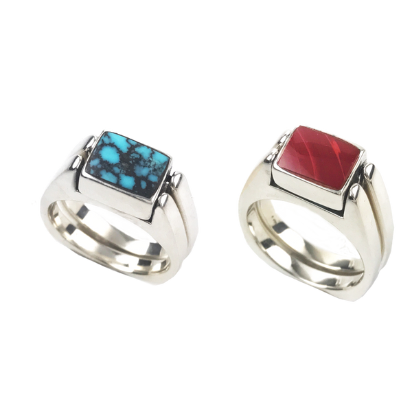 Dynamic Duo, Solid Stone Inlay, in Sterling, Matrix Turquoise with Roserita