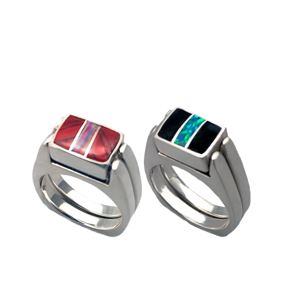 Dynamic Duo, 3pc Inlay with Opal Center, in Sterling, Black Jade and Roserita