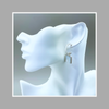 Earrings, Mother of Pearl Rectangle Drops on ¾ Sterling Hoops with Post
